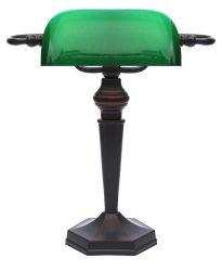 LANDLITE TL609 E27 Max 60W, íróasztali lámpa, asztali lámpa, banker lámpa, banklámpa,  bankár lámpa,  zöld üvegburával