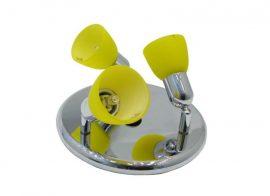 LANDLITE CLE-230A fali spotlámpa,3x60W, sárga búrával, króm kivitel