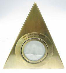 LANDLITE KIT-15-3, 3db JC max 20W G4 12V halogén izzó, fix kivitel, szekrény alatti háromszögű lámpa (3 db-os szett), antik bronz