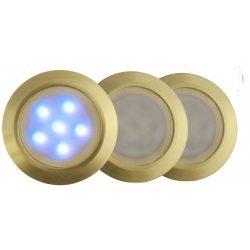 LANDLITE LED-GR01-3x0.5W , 3db-os matt arany földbe süllyesztett LED lámpa szett, kék fényű, IP44