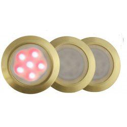 LANDLITE LED-GR01-3x0.5W , 3db-os matt arany földbe süllyesztett LED lámpa szett, piros fényű, IP44