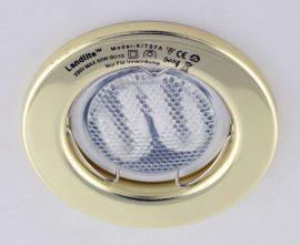 LANDLITE KIT-57A-3, 3db 7W GU10 230V fehér kompakt fénycső (energiatakarékos izzó), fix kivitel, beépíthető lámpa szett (3 db-os szett),arany