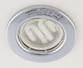 LANDLITE KIT-57A-3, 3db 7W GU10 230V fehér kompakt fénycső (energiatakarékos izzó), fix kivitel, beépíthető lámpa szett (3 db-os szett), króm