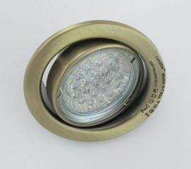 LANDLITE KIT-60A-3, 3db 1,5W GU10 230V fehér LED izzó, forgatható kivitel, beépíthető lámpa szett (3 db-os LED szett), antik bronz