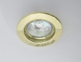 LANDLITE KIT-57A-3, 3db MR16 20W 12V halogén izzó, fix kivitel, beépíthető lámpa szett (3 db-os halogén szett), arany