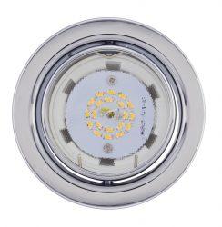 LANDLITE KIT-60A-3, 3db 3W GU10 230V melegfehér LED izzó, billenthető kivitel, beépíthető lámpa szett (3 db-os LED szett), matt króm