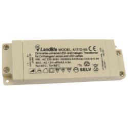 LANDLITE UIT/D-65 220-240V AC / 12 V AC (0,1-65W), SZABÁLYOZHATÓ univerzális transzformátor LED és halogén lámpákhoz