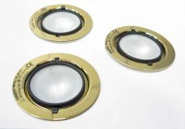 LANDLITE KIT-501-3 (KIT-06-3), 3db JC-20W 12V halogén izzó, fix kivitel, beépíthető lámpa szett (3 db-os halogén szett), ARANY