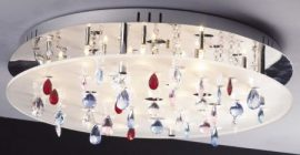 LANDLITE CASINO,MX2226/R-20, 20X10W G4 12V halogén, króm/fehér akril/színes kristály, kristály lámpa