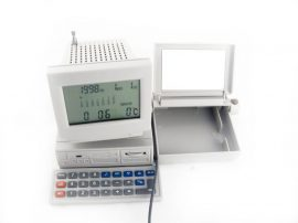 LANDLITE MS-200B számítógép alakú rádiós számológép névjegykártya tartóval
