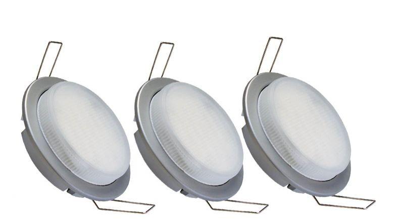 KIT-GX53-3x7W, Beépíthető lámpa komplett szett 3x7W energiatakarékos izzóval (izzók, kábelek mellékelve)