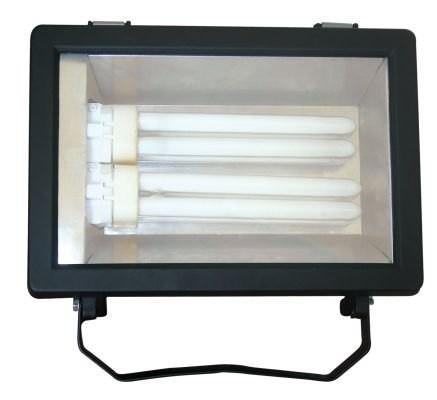 LANDLITE FL-226B, 2X26W G24q-3, fényvető / reflektor (kompakt fénycső mellékelve), fekete. Használt lámpatest, új előtéttel, új izzóval