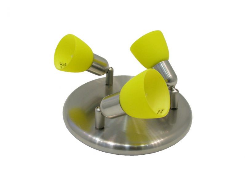 CLE-230A spot lamp, 3x60W, yellow shade, mat chrome