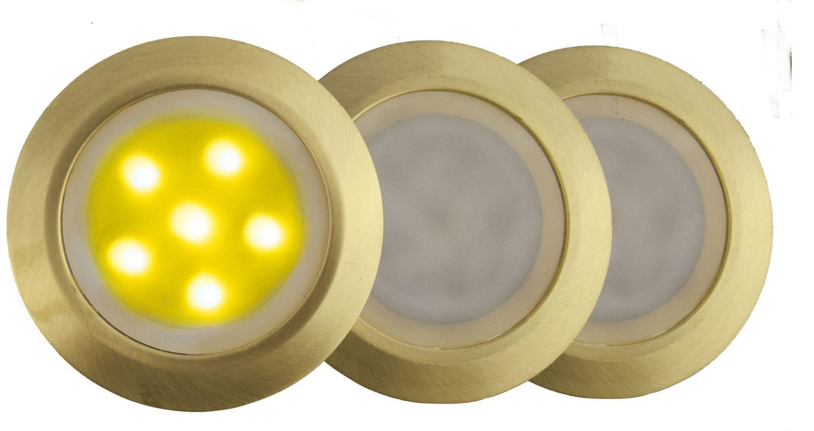 LANDLITE LED-GR01-3x0.5W , 3db-os matt arany földbe süllyesztett LED lámpa szett, sárga fényű, IP44