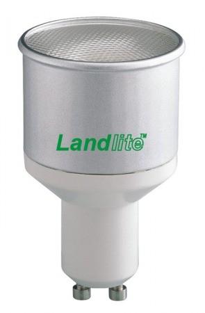 LANDLITE CFL-GU10-10W GU10 230V 8000óra, 2700K, kompakt fénycső (energiatakarékos izzó), (hosszabb, vékonyabb verzió)