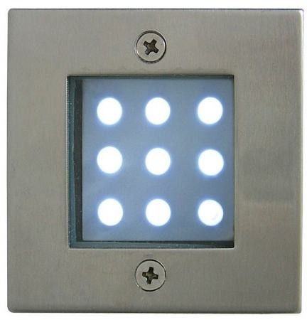 LED-GR92-3, 3x1,0W, 3pcs SET, transformer, metallic colors: matte chrome, IP68, recessed LED ground
