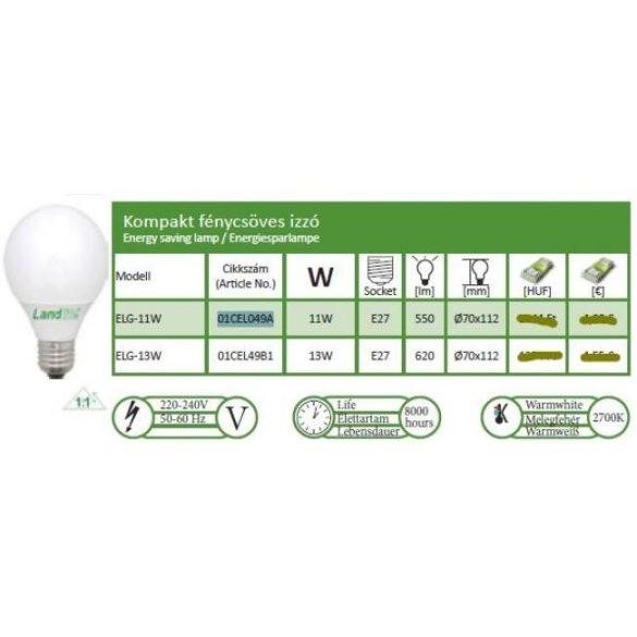 LANDLITE Energiatakarékos, E27, 11W, G70, 550lm, 2700K, nagygömb formájú fényforrás (ELG-11W)