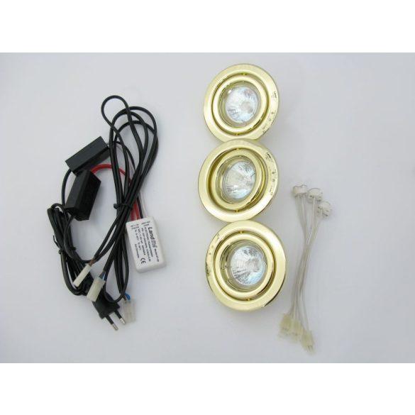 LANDLITE Halogén, GU5.3 (MR16), 3x20W, Ø105mm, billenő, arany, spot lámpa szett (KIT-60-3)