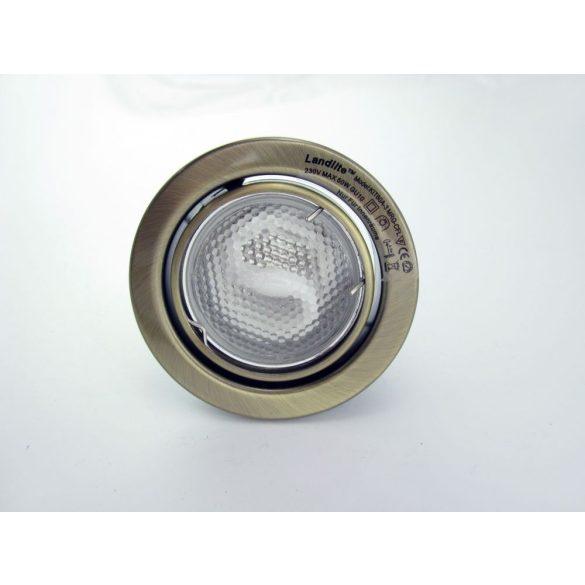 LANDLITE Energiatakarékos, GU10, 3x13W, Ø79mm, billenő, antik bronz, spot lámpa szett (KIT-60A-3)