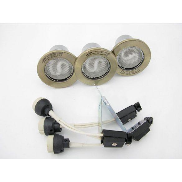 LANDLITE Energiatakarékos, GU10, 3x13W, Ø79mm, fix, antik bronz, spot lámpa szett (KIT-57A-3)