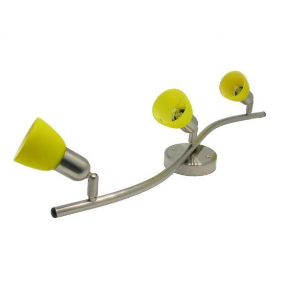 LANDLITE CLE-330A mennyezeti spot lámpa,3x60W, sárga búrával, matt króm kivitel
