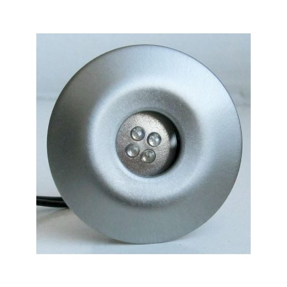 LANDLITE LED-GR02-4X1,0W, 4db-os szett, trafóval, fém szín: matt króm, LED szín: kék, IP44, földbe süllyesztett LED lámpa