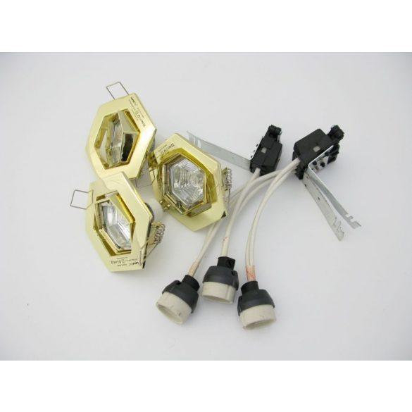 LANDLITE Halogén, GU10, 3x50W, Ø93mm, HEX (hatszögű), billenő, arany, spot lámpa szett (KIT-82-3)
