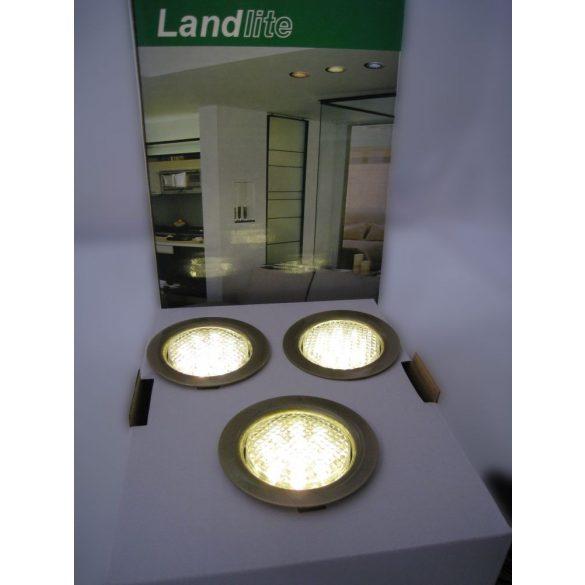 LANDLITE LED-06D-3X1,0W, 3db 1,0W LED 12V, beépíthető lámpa szett (3 db-os LED szett), LED: fehér, lámpa: antik bronz