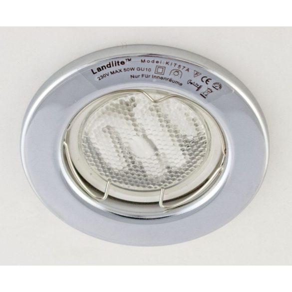 LANDLITE Energiatakarékos, GU10, 3x7W, Ø79mm, fix, króm, spot lámpa szett (KIT-57A-3)