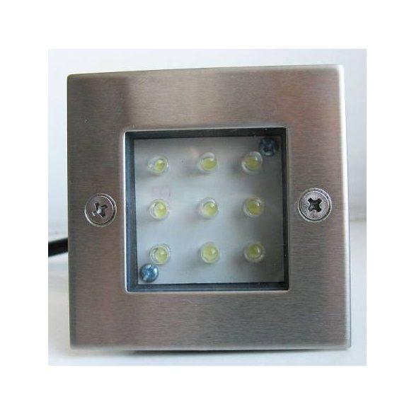 LANDLITE LED-GR92-3, 3x1,0W, 3db-os szett, trafóval, fém szín: matt króm, IP68, földbe süllyesztett LED lámpa, LED szín: kék