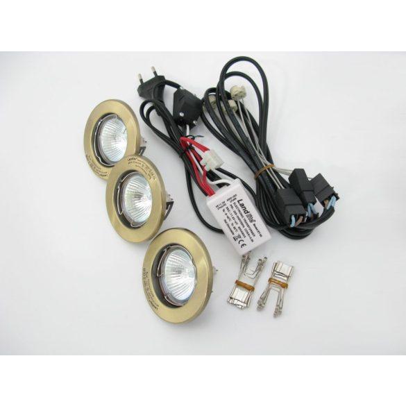 LANDLITE Halogén, GU5.3 (MR16), 3x20W, Ø80mm, fix, antik bronz, spot lámpa szett (KIT-57A-3)