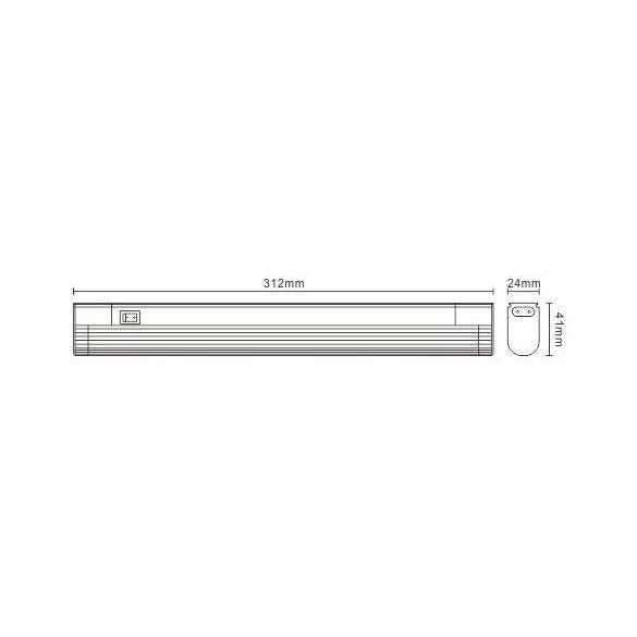 LANDLITE Fénycsöves, T5, 8W, 450lm, 4000K, 312mm, toldható szekrény lámpa (EBL/N-8W)