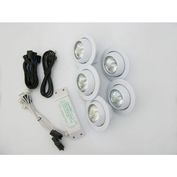 LANDLITE Halogén, GU5.3 (MR16), 5x20W, Ø100mm, billenő, fehér, spot lámpa szett (KIT-510-5)