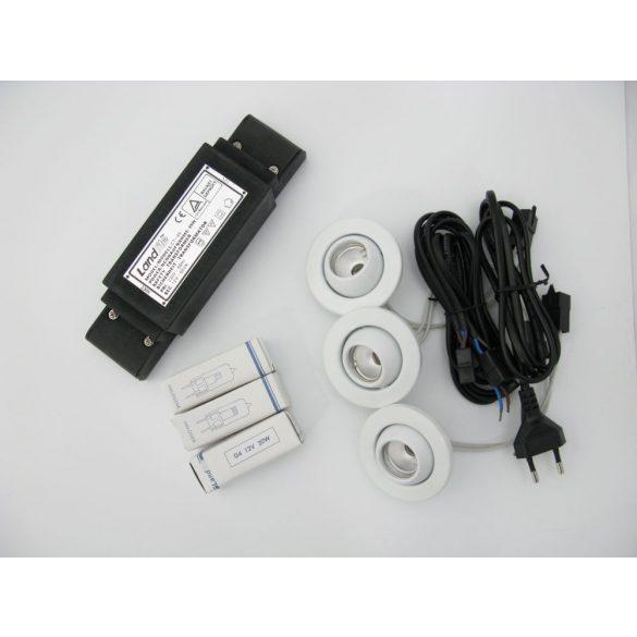 """LANDLITE KIT-706-3, 3db JC-20W G4 12V halogén izzó, forgatható kivitel, """"Mini Béka Szem"""", beépíthető lámpa szett (3 db-os halogén szett), fehér"""