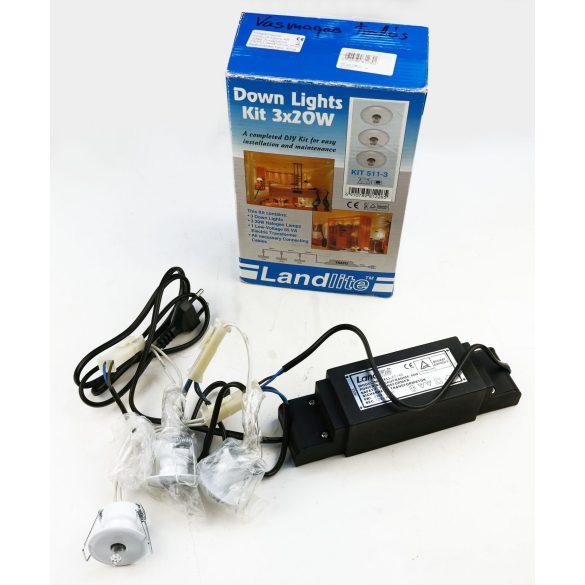 """LANDLITE KIT-511-3, 3db JC-20W G4 12V halogén izzó, fix kivitel, """"Csillagok"""", beépíthető lámpa szett (3 db-os halogén szett), fehér"""