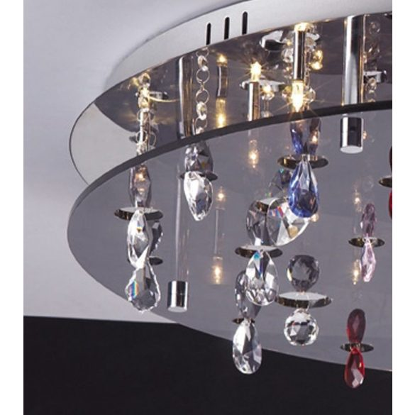 LANDLITE CASINO, MX2226/R-26, 26X10W G4 12V halogén, króm/fekete akril/színes kristály, kristály lámpa